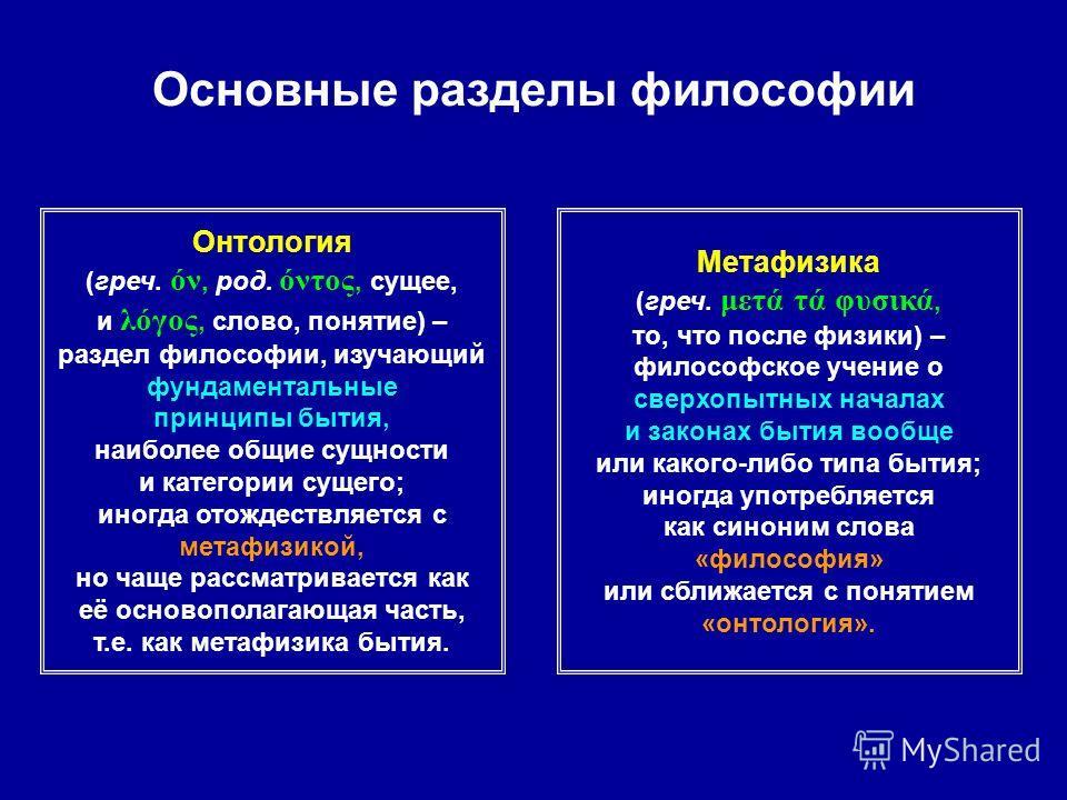 Основные разделы философии Онтология (греч. όν, род. όντος, сущее, и λόγος, слово, понятие) – раздел философии, изучающий фундаментальные принципы бытия, наиболее общие сущности и категории сущего; иногда отождествляется с метафизикой, но чаще рассма