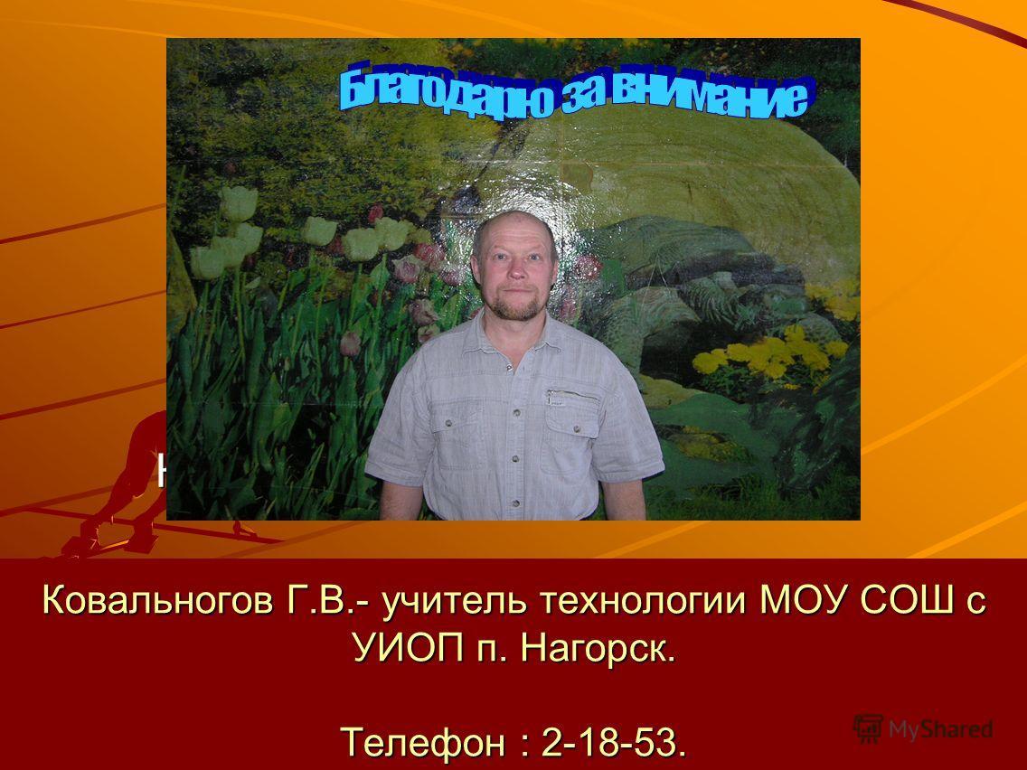 Ковальногов Г.В.- учитель технологии МОУ СОШ с УИОП п. Нагорск. Телефон : 2-18-53. Ковальногов Г.В