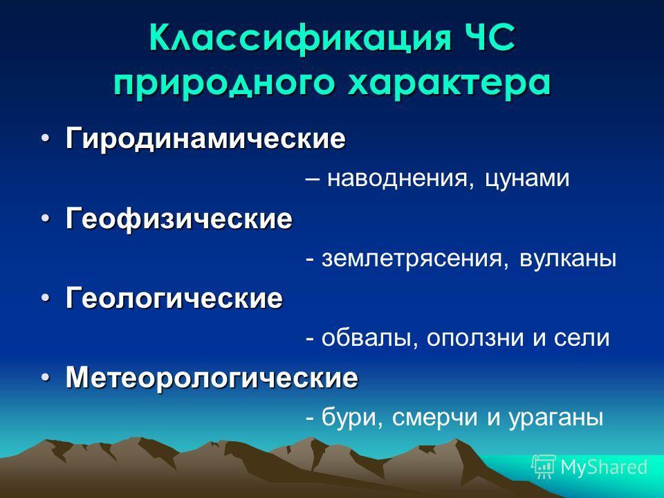 Классификация ЧС природного характера ГиродинамическиеГиродинамические – наводнения, цунами ГеофизическиеГеофизические - землетрясения, вулканы ГеологическиеГеологические - обвалы, оползни и сели МетеорологическиеМетеорологические - бури, смерчи и ур