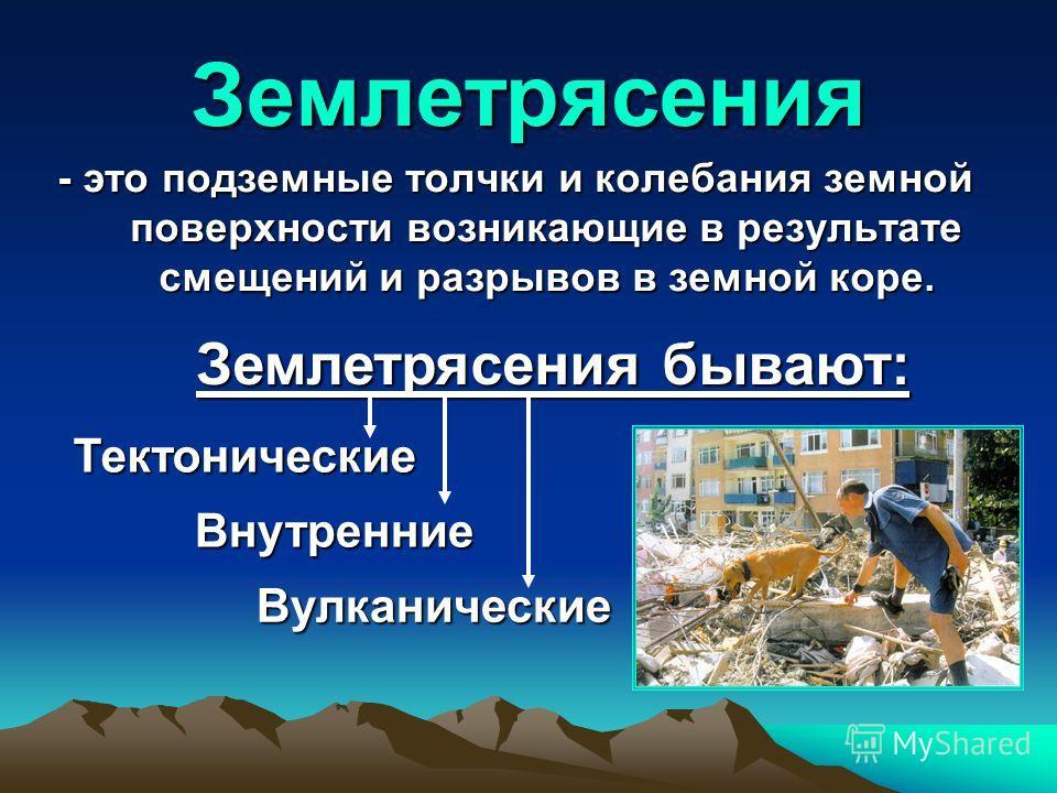 Землетрясения - это подземные толчки и колебания земной поверхности возникающие в результате смещений и разрывов в земной коре. Вулканические Тектонические Землетрясения бывают: Внутренние
