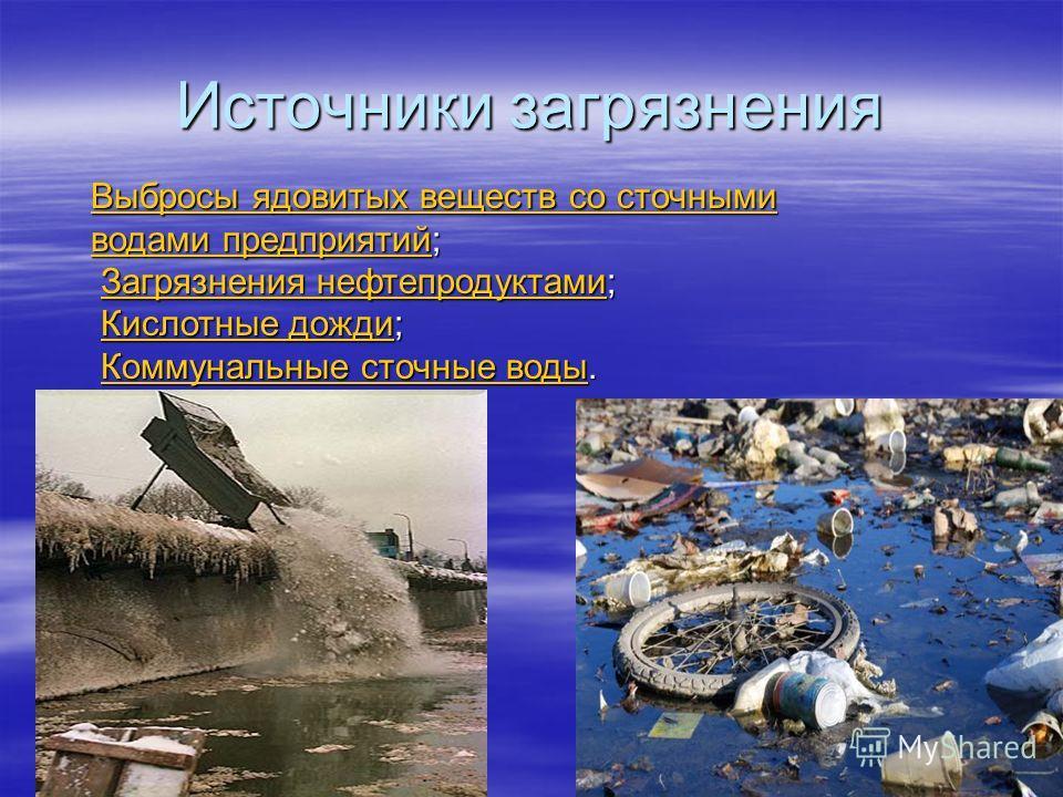 Источники загрязнения Выбросы ядовитых веществ со сточными водами предприятийВыбросы ядовитых веществ со сточными водами предприятий; Выбросы ядовитых веществ со сточными водами предприятий Загрязнения нефтепродуктами; Загрязнения нефтепродуктами;Заг