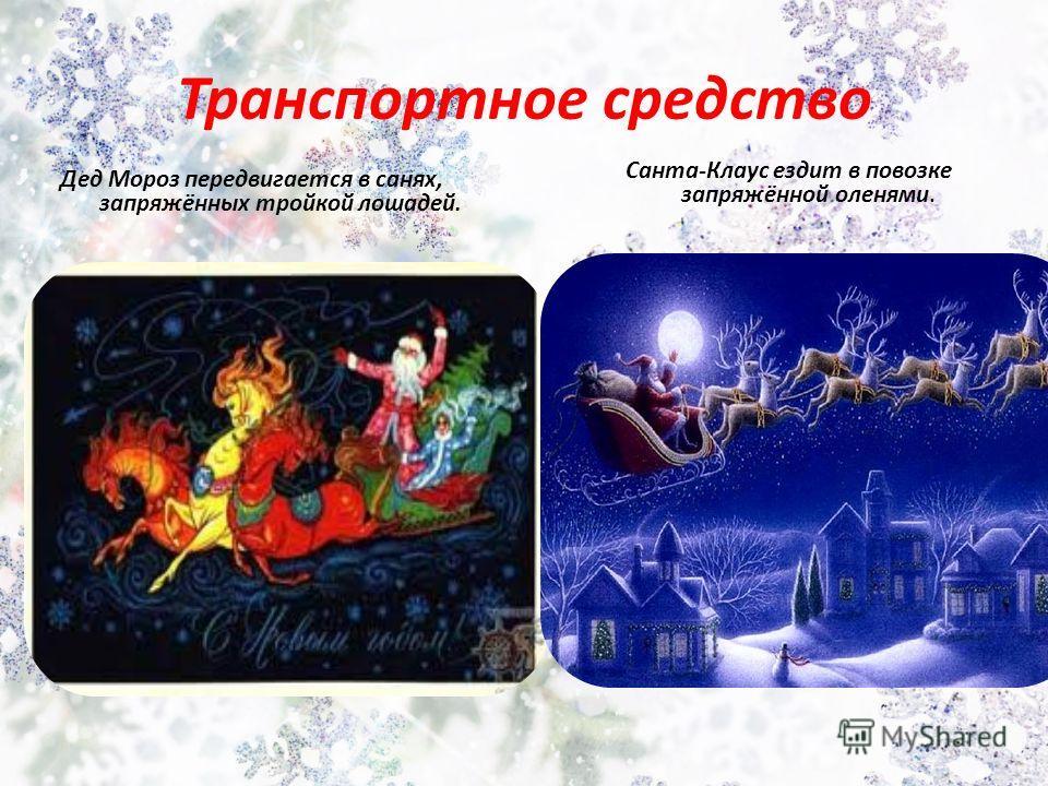 Транспортное средство Дед Мороз передвигается в санях, запряжённых тройкой лошадей. Санта-Клаус ездит в повозке запряжённой оленями.
