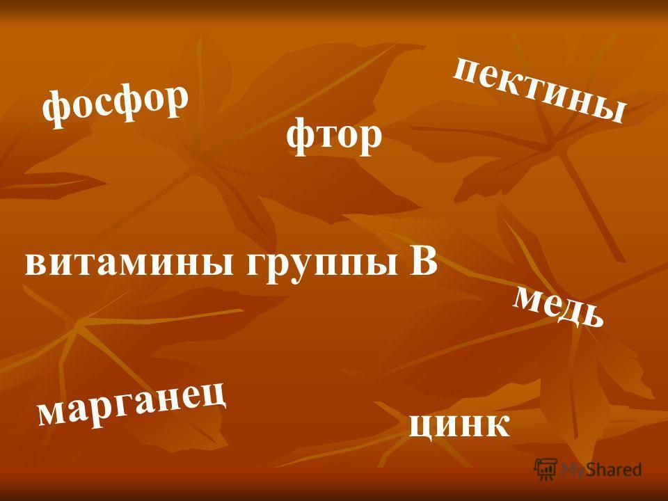 пектины фосфор фтор цинк марганец медь витамины группы В