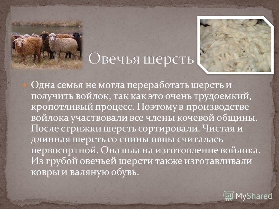 Одна семья не могла переработать шерсть и получить войлок, так как это очень трудоемкий, кропотливый процесс. Поэтому в производстве войлока участвовали все члены кочевой общины. После стрижки шерсть сортировали. Чистая и длинная шерсть со спины овцы