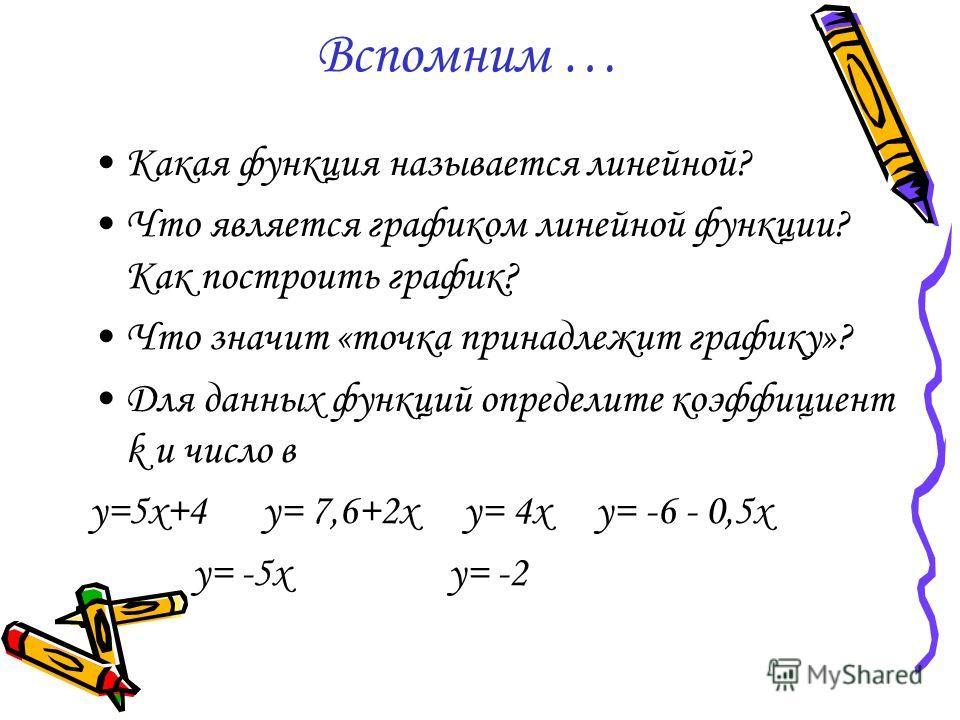 Вспомним … Какая функция называется линейной? Что является графиком линейной функции? Как построить график? Что значит «точка принадлежит графику»? Для данных функций определите коэффициент k и число в y=5x+4 y= 7,6+2x y= 4x y= -6 - 0,5x y= -5x y= -2