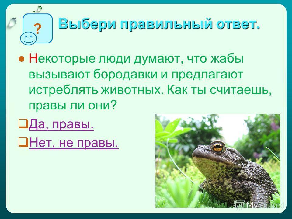 Выбери правильный ответ. Некоторые люди думают, что жабы вызывают бородавки и предлагают истреблять животных. Как ты считаешь, правы ли они? Да, правы. Нет, не правы. ?