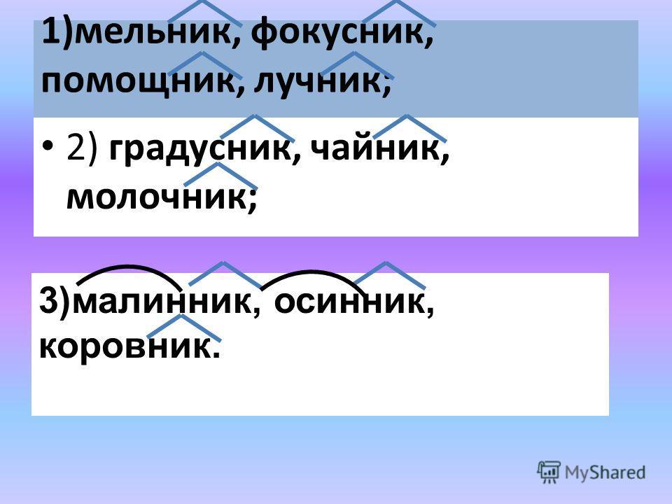 1)мельник, фокусник, помощник, лучник; 2) градусник, чайник, молочник; 3)малинник, осинник, коровник.