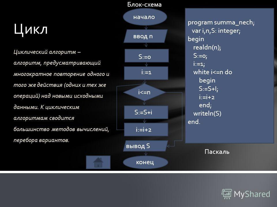 Циклический алгоритм – алгоритм, предусматривающий многократное повторение одного и того же действия (одних и тех же операций) над новыми исходными данными. К циклическим алгоритмам сводится большинство методов вычислений, перебора вариантов. Цикл на