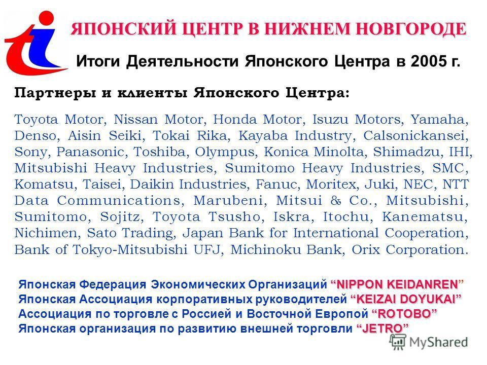 ЯПОНСКИЙ ЦЕНТР В НИЖНЕМ НОВГОРОДЕ Итоги Деятельности Японского Центра в 2005 г. Партнеры и клиенты Японского Центра: Toyota Motor, Nissan Motor, Honda Motor, Isuzu Motors, Yamaha, Denso, Aisin Seiki, Tokai Rika, Kayaba Industry, Calsonickansei, Sony,