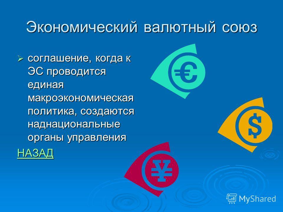 Экономический валютный союз соглашение, когда к ЭС проводится единая макроэкономическая политика, создаются наднациональные органы управления соглашение, когда к ЭС проводится единая макроэкономическая политика, создаются наднациональные органы управ