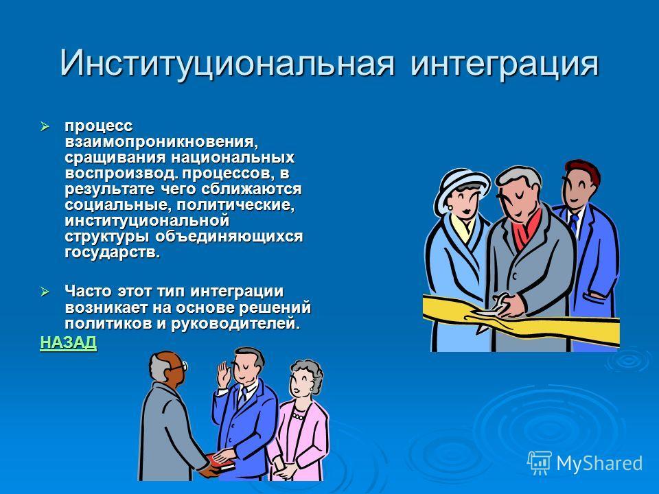 Институциональная интеграция процесс взаимопроникновения, сращивания национальных воспроизвод. процессов, в результате чего сближаются социальные, политические, институциональной структуры объединяющихся государств. процесс взаимопроникновения, сращи