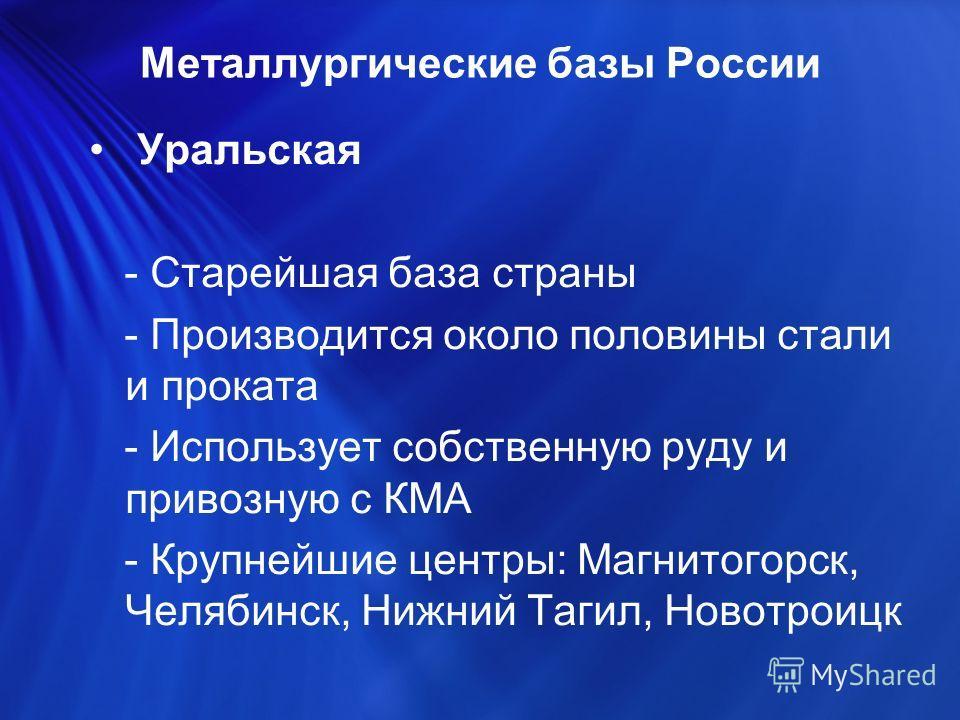Уральская - Старейшая база страны - Производится около половины стали и проката - Использует собственную руду и привозную с КМА - Крупнейшие центры: Магнитогорск, Челябинск, Нижний Тагил, Новотроицк