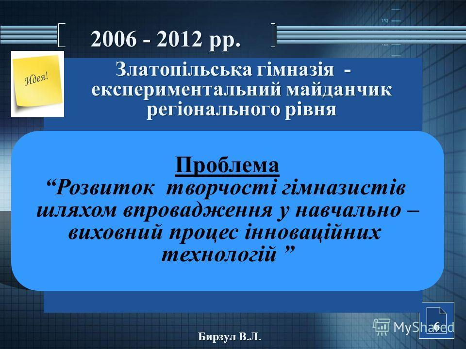 2006 - 2012 рр. Златопільська гімназія - експериментальний майданчик регіонального рівня 6 Бирзул В.Л. Проблема Розвиток творчості гімназистів шляхом впровадження у навчально – виховний процес інноваційних технологій