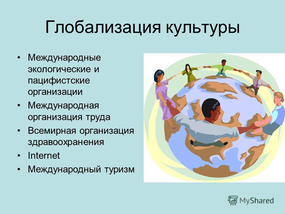 Глобализация культуры Международные экологические и пацифистские организации Международная организация труда Всемирная организация здравоохранения Internet Международный туризм
