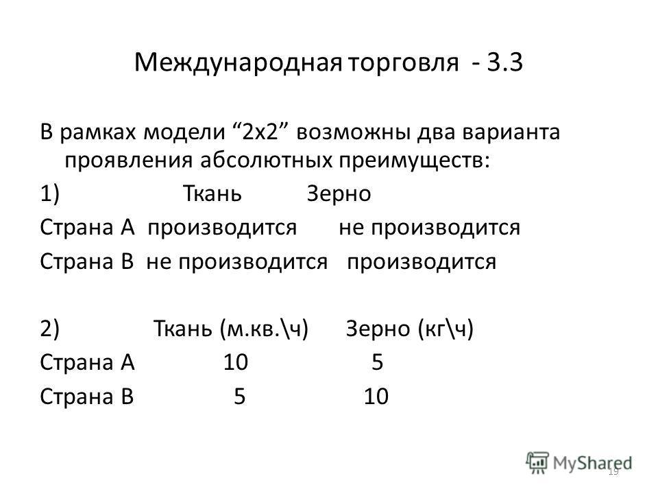 19 Международная торговля - 3.3 В рамках модели 2х2 возможны два варианта проявления абсолютных преимуществ: 1) Ткань Зерно Страна А производится не производится Страна В не производится производится 2) Ткань (м.кв.\ч) Зерно (кг\ч) Страна А 10 5 Стра