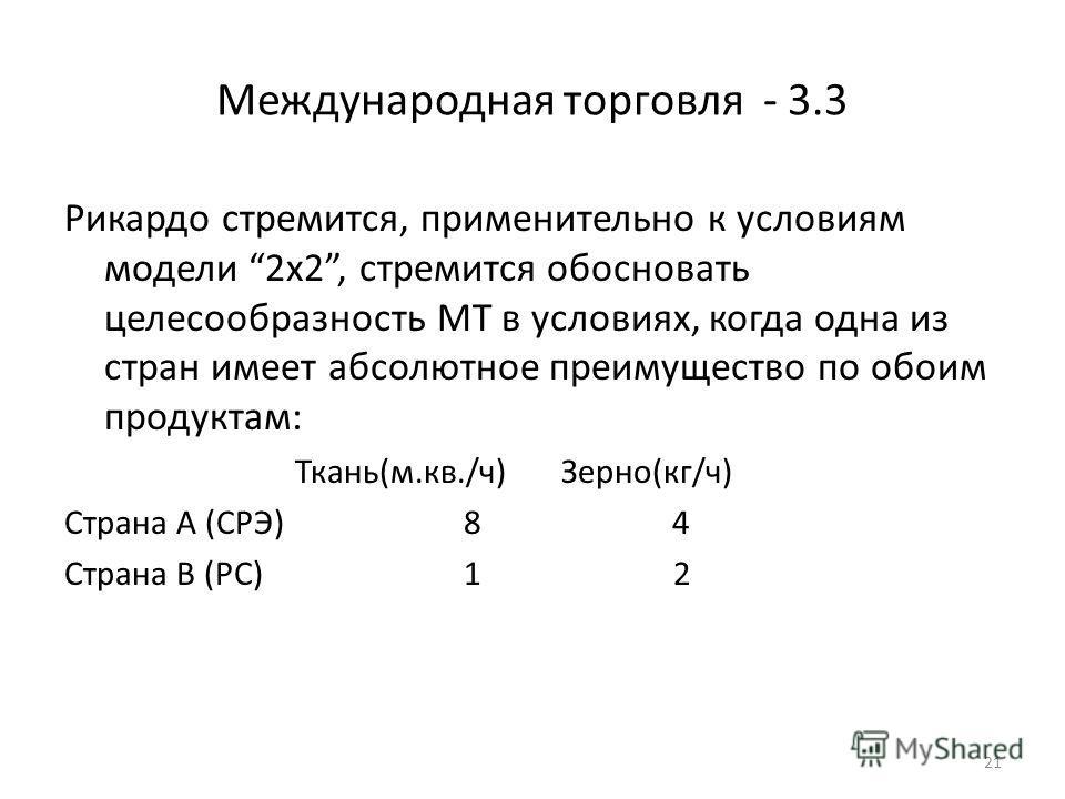 21 Международная торговля - 3.3 Рикардо стремится, применительно к условиям модели 2х2, стремится обосновать целесообразность МТ в условиях, когда одна из стран имеет абсолютное преимущество по обоим продуктам: Ткань(м.кв./ч) Зерно(кг/ч) Страна А (СР