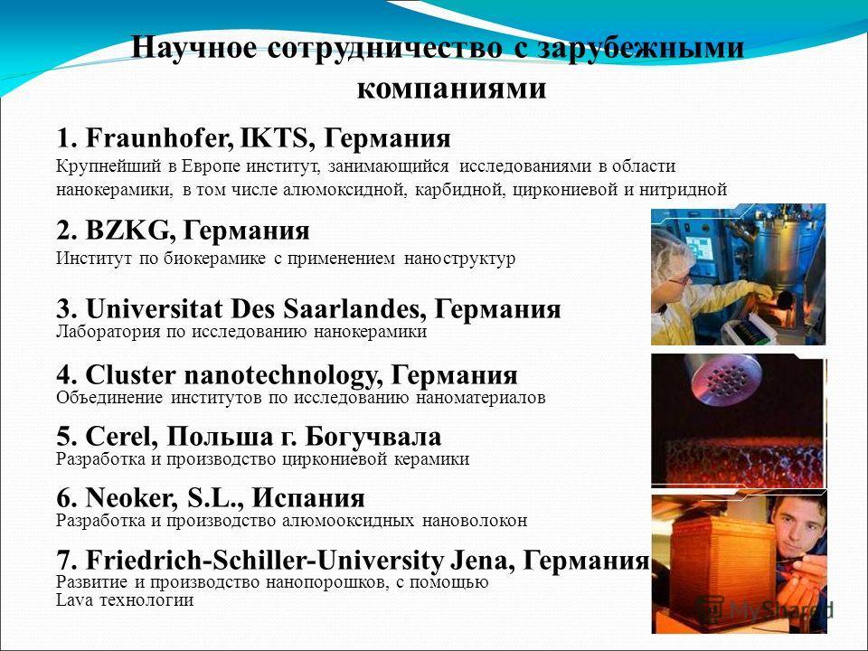 Научное сотрудничество с зарубежными компаниями 1.Fraunhofer, IKTS, Германия Крупнейший в Европе институт, занимающийся исследованиями в области нанокерамики, в том числе алюмоксидной, карбидной, циркониевой и нитридной 2. BZKG, Германия Институт по