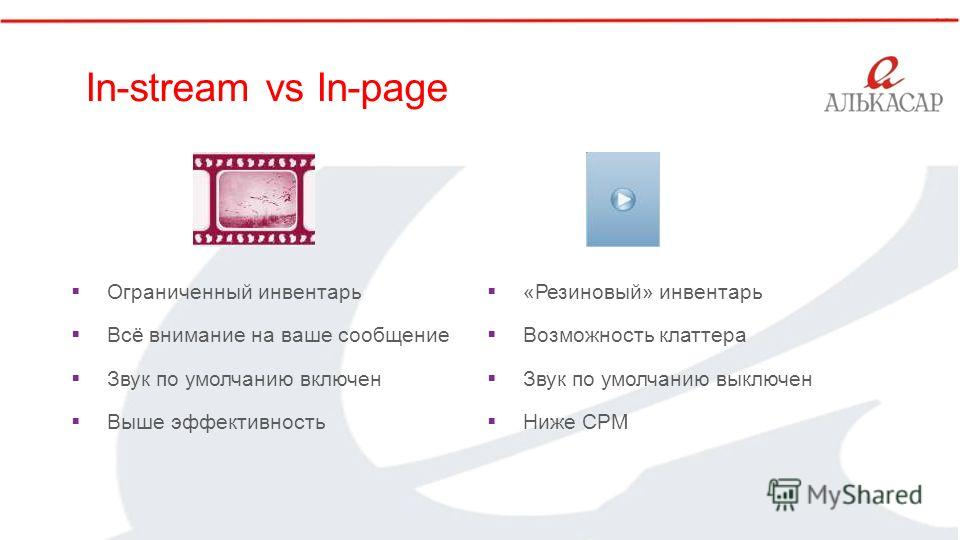 ` In-stream vs In-page Ограниченный инвентарь Всё внимание на ваше сообщение Звук по умолчанию включен Выше эффективность «Резиновый» инвентарь Возможность клаттера Звук по умолчанию выключен Ниже CPM