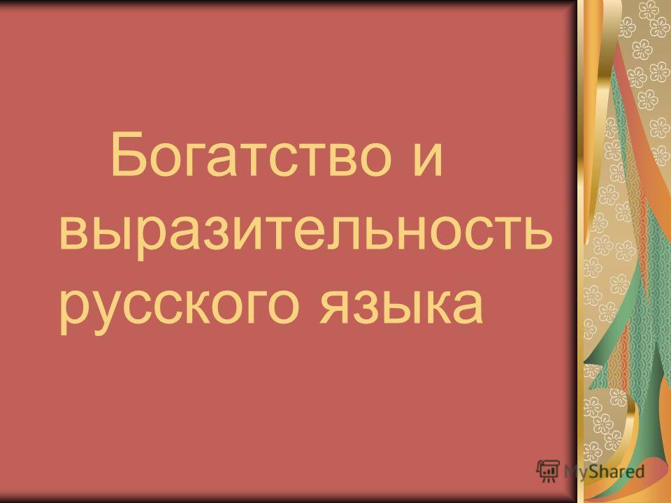 Богатство и выразительность русского языка