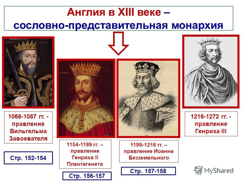 Англия в XIII веке – сословно-представительная монархия 1066-1087 гг. - правление Вильгельма Завоевателя 1154-1189 гг. – правление Генриха II Плантагенета 1199-1216 гг. – правление Иоанна Безземельного 1216-1272 гг. - правление Генриха III Стр. 152-1