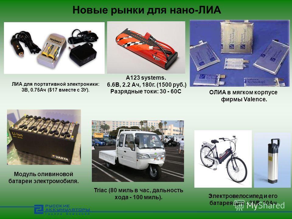 Новые рынки для нано-ЛИА Электровелосипед и его батарея для : 36В, 10Ач Модуль оливиновой батареи электромобиля. Triac (80 миль в час, дальность хода - 100 миль). ЛИА для портативной электроники: 3В, 0.75Ач ($17 вместе с ЗУ). A123 systems. 6.6В, 2.2
