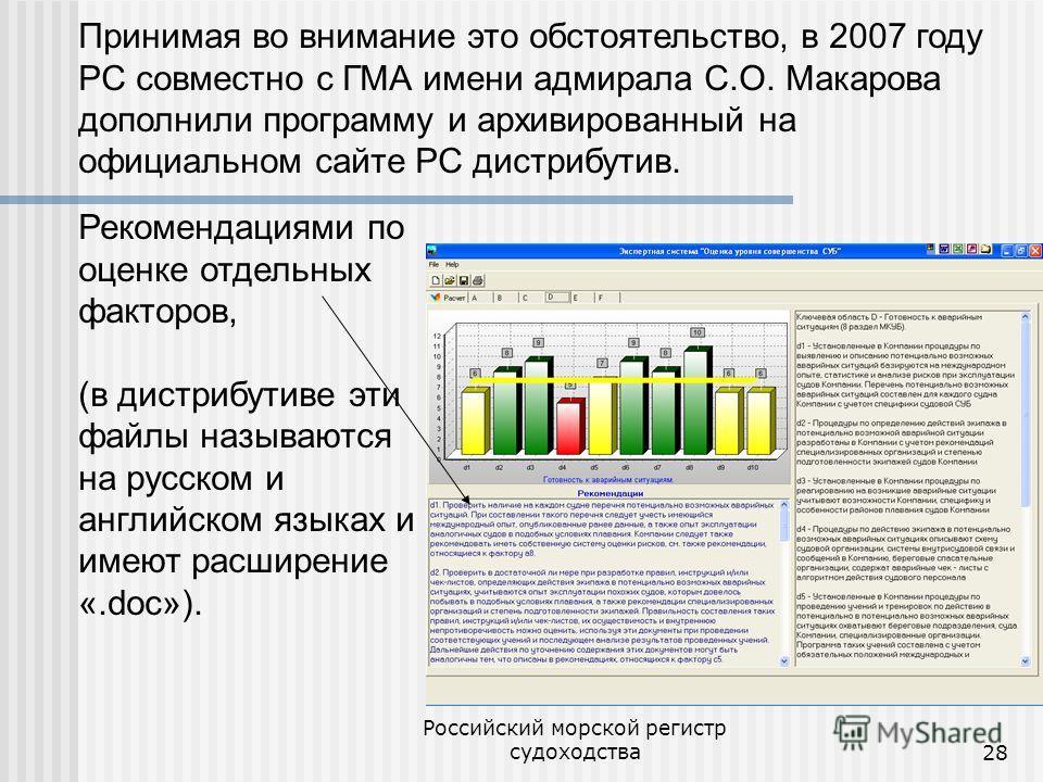 Российский морской регистр судоходства28 Принимая во внимание это обстоятельство, в 2007 году РС совместно с ГМА имени адмирала С.О. Макарова дополнили программу и архивированный на официальном сайте РС дистрибутив. Рекомендациями по оценке отдельных