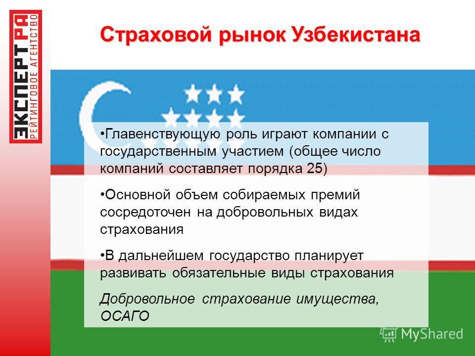 Страховой рынок Узбекистана Главенствующую роль играют компании с государственным участием (общее число компаний составляет порядка 25) Основной объем собираемых премий сосредоточен на добровольных видах страхования В дальнейшем государство планирует