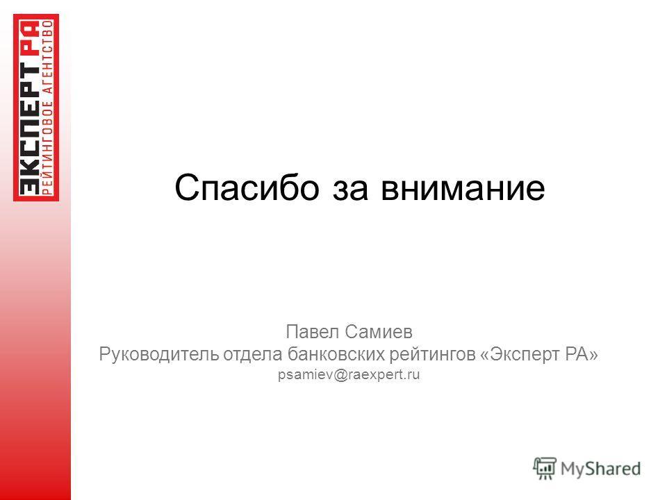 Спасибо за внимание Павел Самиев Руководитель отдела банковских рейтингов «Эксперт РА» psamiev@raexpert.ru