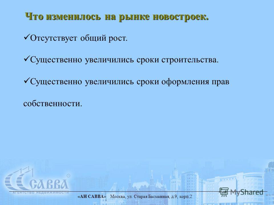 «АН САВВА» Москва, ул. Старая Басманная, д.9, корп.2 Отсутствует общий рост. Существенно увеличились сроки строительства. Существенно увеличились сроки оформления прав собственности. Что изменилось на рынке новостроек.
