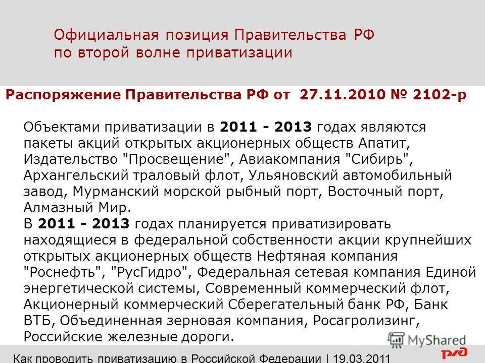 Официальная позиция Правительства РФ по второй волне приватизации Распоряжение Правительства РФ от 27.11.2010 2102-р Объектами приватизации в 2011 - 2013 годах являются пакеты акций открытых акционерных обществ Апатит, Издательство