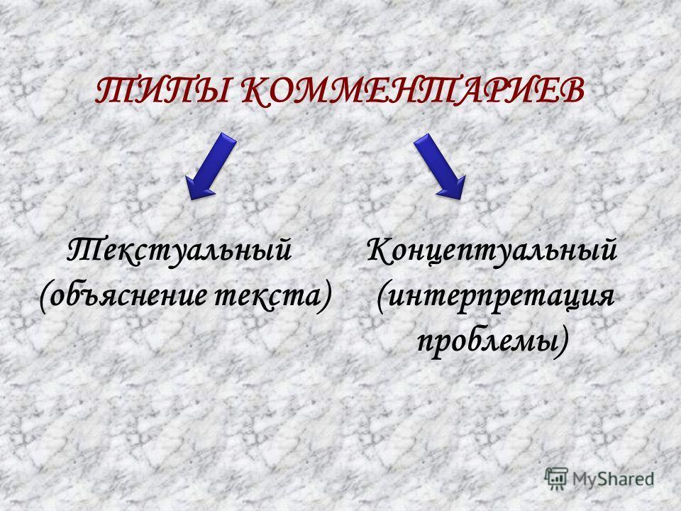 ТИПЫ КОММЕНТАРИЕВ Текстуальный (объяснение текста) Концептуальный (интерпретация проблемы)