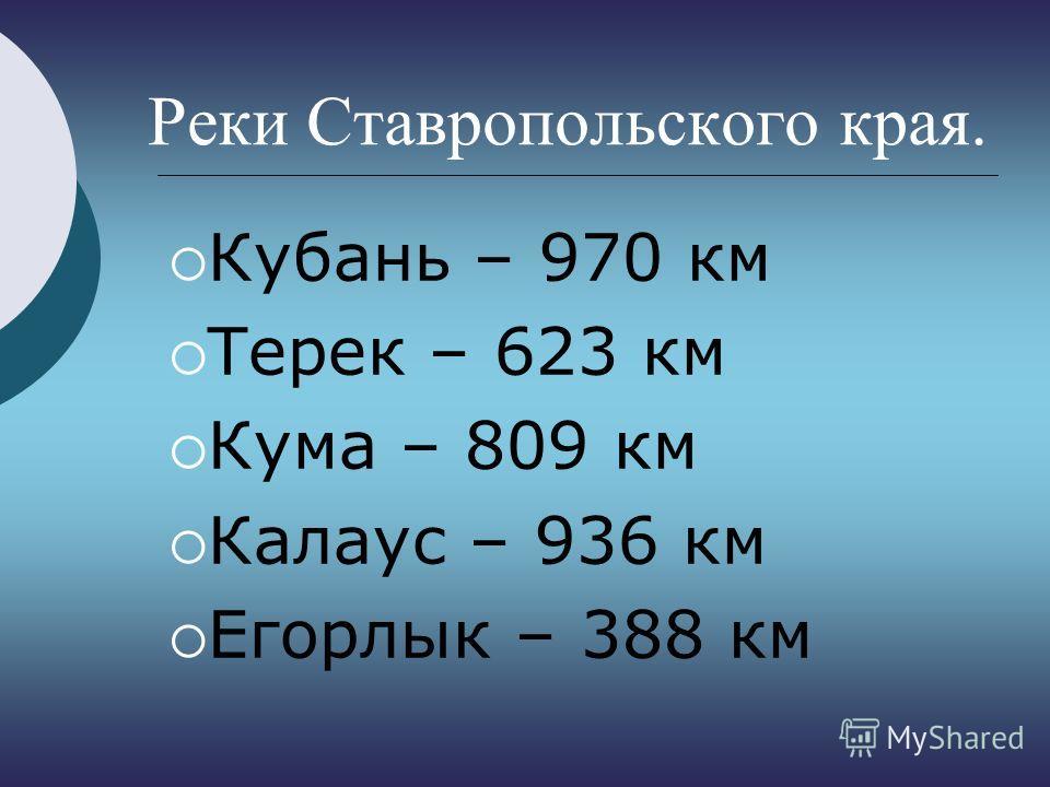 Реки Ставропольского края. Кубань – 970 км Терек – 623 км Кума – 809 км Калаус – 936 км Егорлык – 388 км