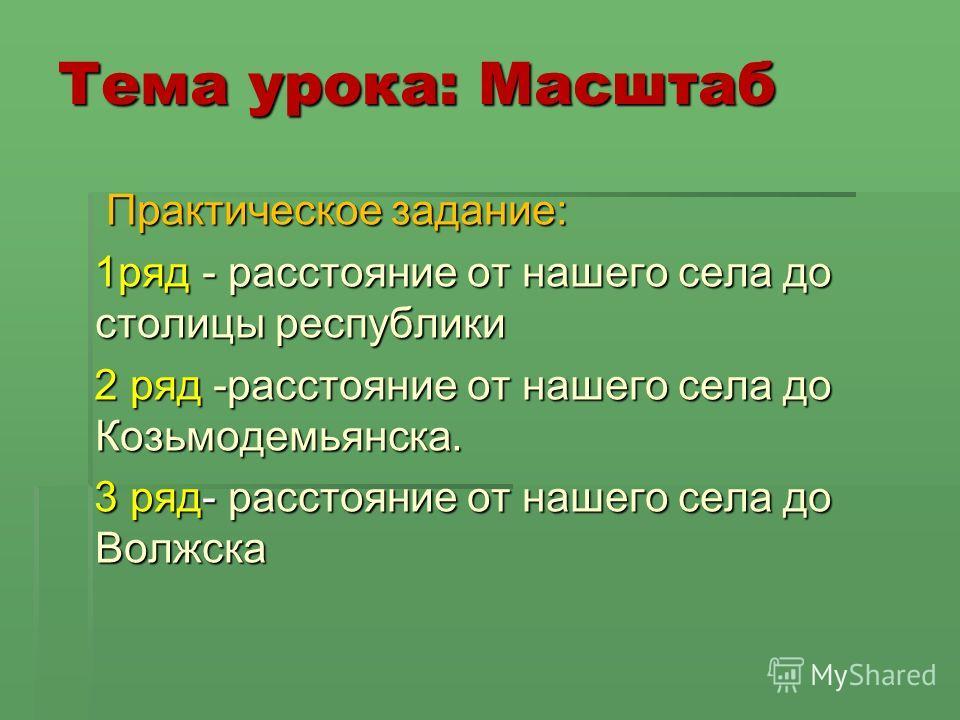 Тема урока: Масштаб Практическое задание: Практическое задание: 1ряд - расстояние от нашего села до столицы республики 1ряд - расстояние от нашего села до столицы республики 2 ряд -расстояние от нашего села до Козьмодемьянска. 2 ряд -расстояние от на
