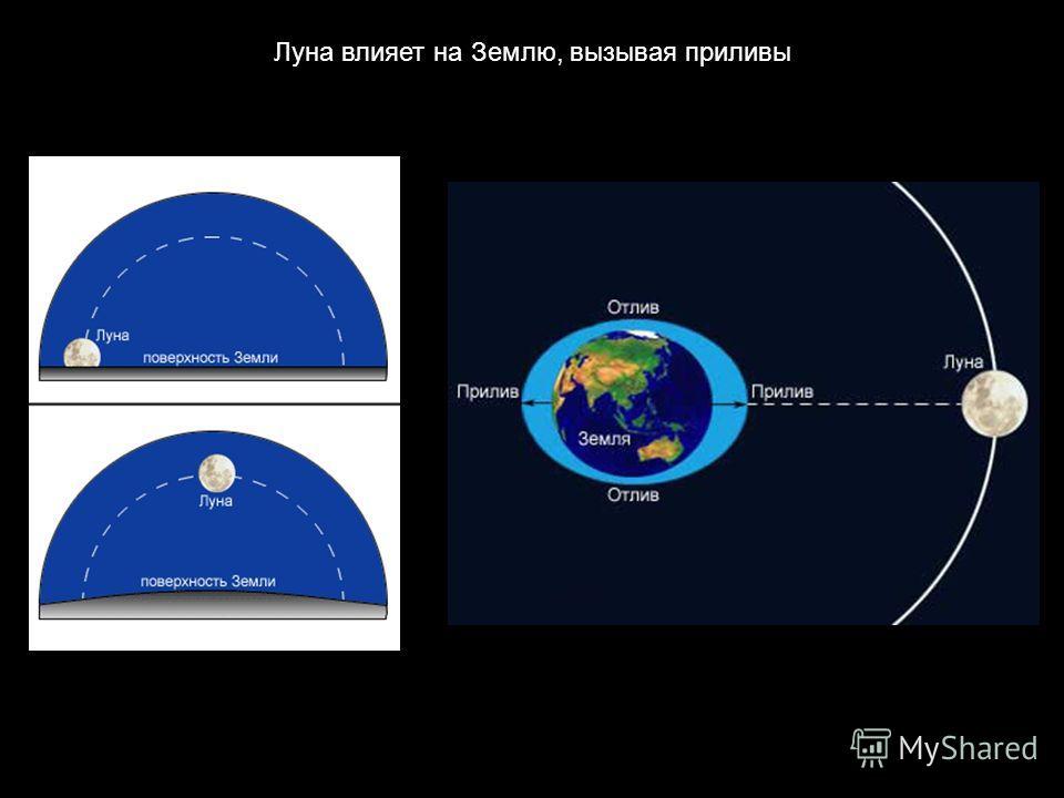 Луна влияет на Землю, вызывая приливы