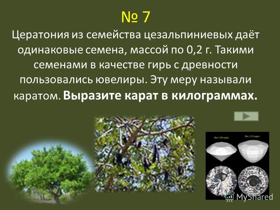7 Цератония из семейства цезальпиниевых даёт одинаковые семена, массой по 0,2 г. Такими семенами в качестве гирь с древности пользовались ювелиры. Эту меру называли каратом. Выразите карат в килограммах.