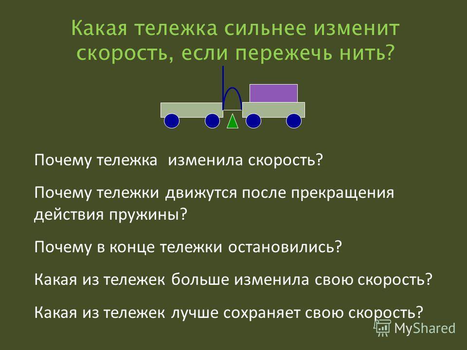 Какая тележка сильнее изменит скорость, если пережечь нить? Почему тележка изменила скорость? Почему тележки движутся после прекращения действия пружины? Почему в конце тележки остановились? Какая из тележек больше изменила свою скорость? Какая из те