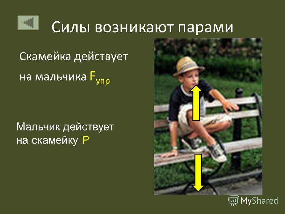 Скамейка действует на мальчика F упр Мальчик действует на скамейку Р
