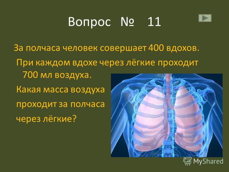 Вопрос 11 За полчаса человек совершает 400 вдохов. При каждом вдохе через лёгкие проходит 700 мл воздуха. Какая масса воздуха проходит за полчаса через лёгкие?