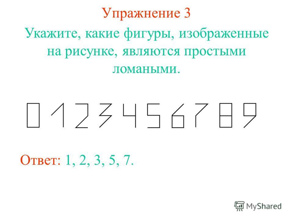 Упражнение 3 Укажите, какие фигуры, изображенные на рисунке, являются простыми ломаными. Ответ: 1, 2, 3, 5, 7.