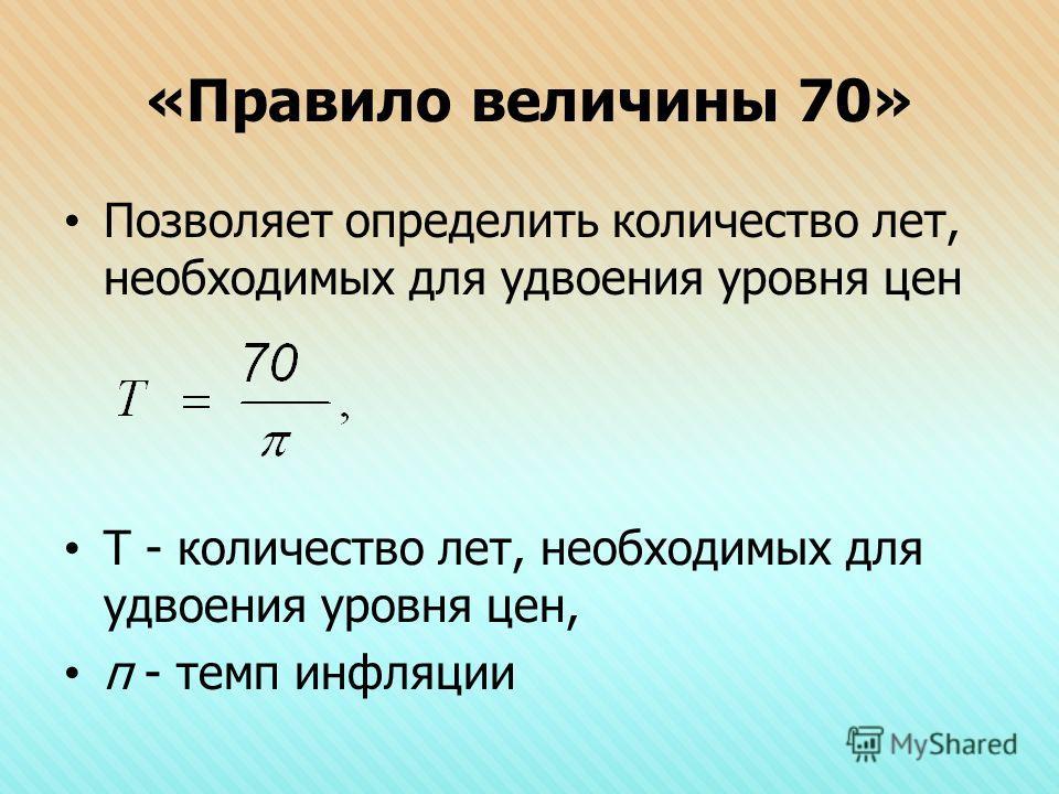 «Правило величины 70» Позволяет определить количество лет, необходимых для удвоения уровня цен Т - количество лет, необходимых для удвоения уровня цен, π - темп инфляции