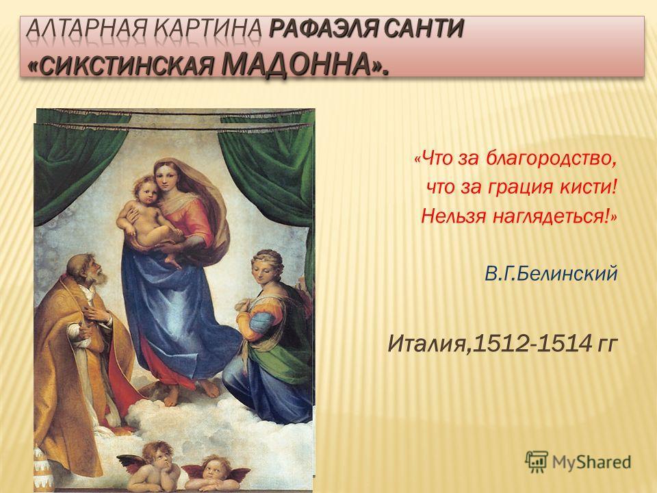 «Что за благородство, что за грация кисти! Нельзя наглядеться!» В.Г.Белинский Италия,1512-1514 гг