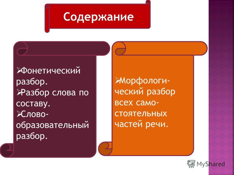 Фонетический разбор. Разбор слова по составу. Слово- образовательный разбор. Морфологи- ческий разбор всех само- стоятельных частей речи. Содержание