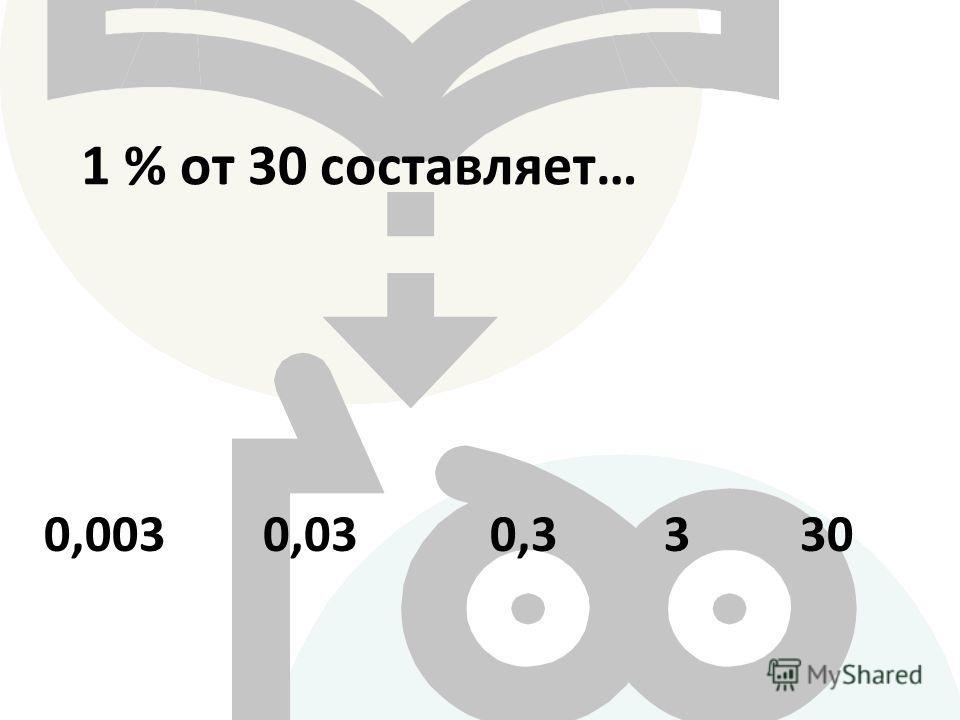 1 % от 30 составляет … 0,33300,030,003