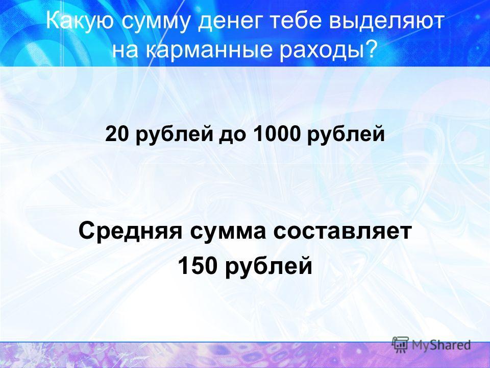 Какую сумму денег тебе выделяют на карманные раходы? 20 рублей до 1000 рублей Средняя сумма составляет 150 рублей