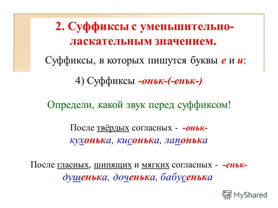 2. Суффиксы с уменьшительно- ласкательным значением. Суффиксы, в которых пишутся буквы е и и: 4) Суффиксы -оньк-(-еньк-) Определи, какой звук перед суффиксом! После твёрдых согласных - -оньк- кухонька, кисонька, лапонька После гласных, шипящих и мягк