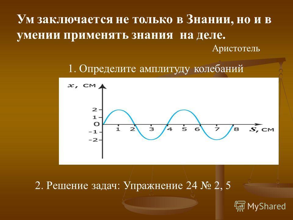 Ум заключается не только в Знании, но и в умении применять знания на деле. Аристотель 1. Определите амплитуду колебаний 2. Решение задач: Упражнение 24 2, 5