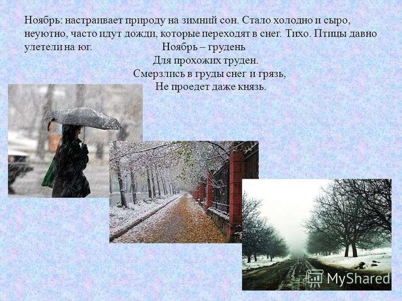 Ноябрь: настраивает природу на зимний сон. Стало холодно и сыро, неуютно, часто идут дожди, которые переходят в снег. Тихо. Птицы давно улетели на юг. Ноябрь – грудень Для прохожих труден. Смерзлись в груды снег и грязь, Не проедет даже князь.