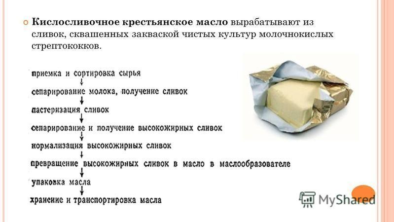 Кислосливочное крестьянское масло вырабатывают из сливок, сквашенных закваской чистых культур молочнокислых стрептококков.
