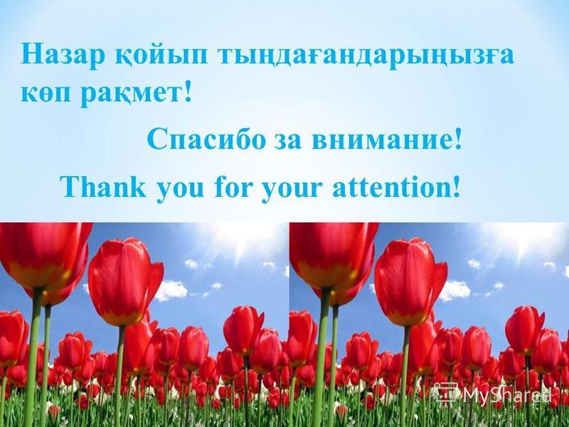 Назар қойып тыңдағандарыңызға көп рақмет! Спасибо за внимание! Thank you for your attention!