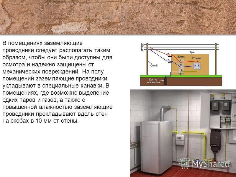 В помещениях заземляющие проводники следует располагать таким образом, чтобы они были доступны для осмотра и надежно защищены от механических повреждений. На полу помещений заземляющие проводники укладывают в специальные канавки. В помещениях, где во